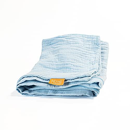 Mizali - Bettschlangenbezug 300 cm - Musselin Bezug mit Reißverschluss - waschbar - Bettumrandung Babybett Kantenschutz Kinderbett (300, Hellblau)