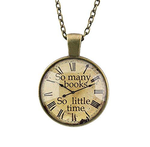 DELEY Vintage Bronze Kette Gear Uhr Bücher Glas Dome Zeit Edelstein Anhänger Statement Halskette Uhr