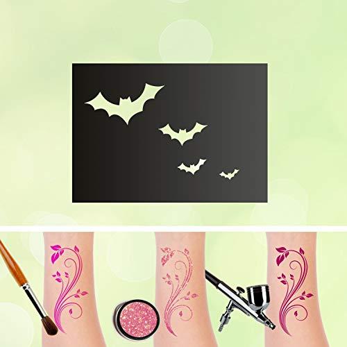 Tattoo Schablonen Fledermäuse Selbstklebend Kinderschminken Airbrush Größe 100 Stk
