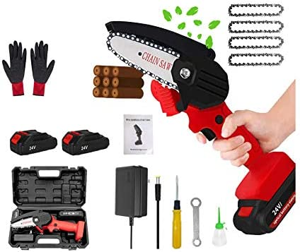 Mini Chainsaw 4 Inch Cordless Handheld Electric Portable Chain Saw with Battery Chain and Box product image