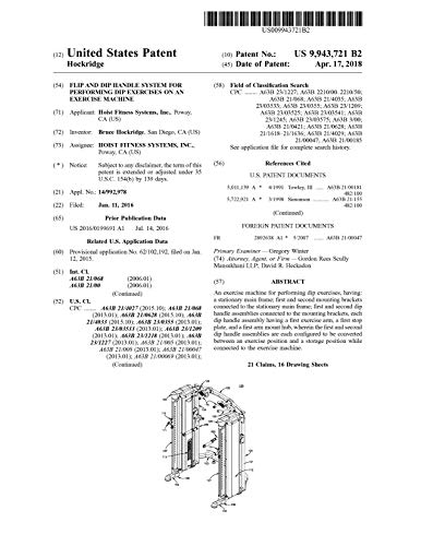 Flip and dip handle system for performing dip exercises on an exercise machine: United States Patent 9943721 (English Edition)