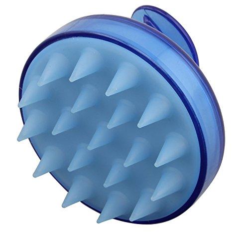 Rocita Masajeador Cuero Cabelludo,Cepillo de champú,Masajeador de Ducha,Peine de Silicona Suave para Limpieza Cuerpo y Cabello(Azul)