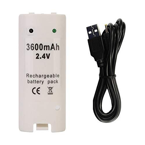 REY Batería Recargable para Mando Remote Wii Blanco Capacidad 3600mAh