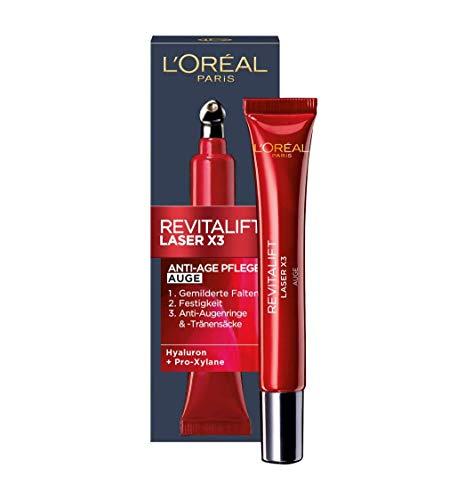 L'Oréal Paris Revitalift Laser X3 Augenpflege mit Hyaluronsäure, Hyaluron Anti-Age Augencreme, 3-fach Anti-Aging Wirkung, mit kühlendem Kugel-Applikator, 15 ml