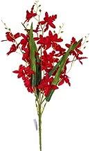 Smart Sense Artificial Dark Red 21 inch Dancing Lady Orchid Liquid Illusion Silk Flower Arrangement in Single Stem(1 pc, Dark Red)