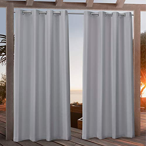 Exclusive Home Curtains Canvas Indoor/Outdoor Grommet Top Curtain Panel Pair, 54x108, Light Grey
