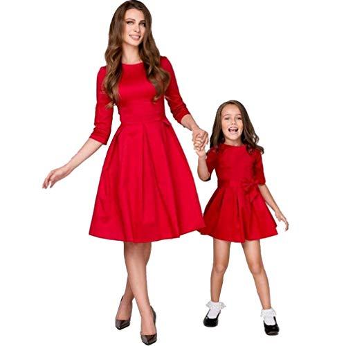 JEELINBORE Casual Vestido Familia Mangas 1/2 Madre e Hija Skater Vestidos Midi con Bowknot para Fiesta Partido - Rojo, 3XS (Chicas)