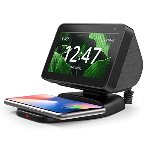 Soporte Echo Show 5 con Carga inalámbrica, Soporte de Montaje magnético Ajustable para Amazon Echo Show 5 con Almohadilla QI Inalámbrica para Carga su teléfono móvil– Negro