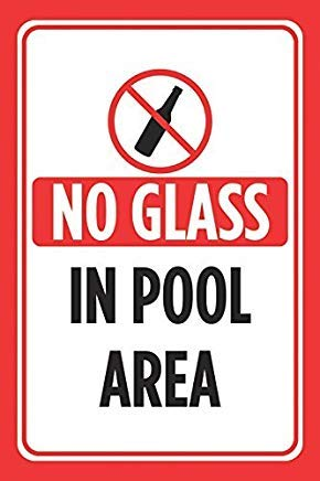 Modtory No Glass in Pool Area Red Black Print Pools Rules Poster Swimming Outdoor Caution Hinweisschild – Aluminium Metall