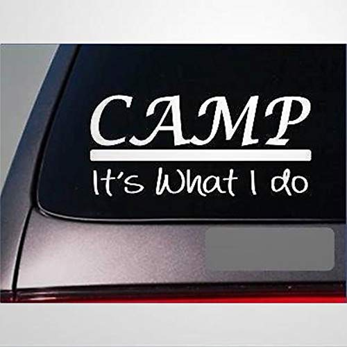 Camp Sticker Decal Tent Hike Trail Shoes Hiking Mountain Waterfall Camper Stickers Car Decal Window Decal Vinyl Decal Die Cut Decals Funny Laptop Stickers Bumper Stickers Present