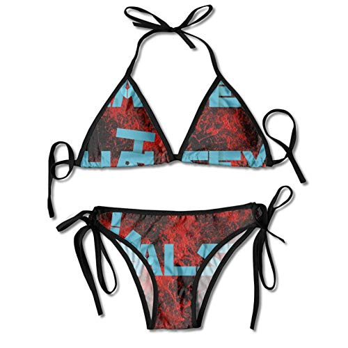 Kanmenenjie Halsey Bikini Womens Sexy Side Triangle Bikini Set Casual Swimsuit Black