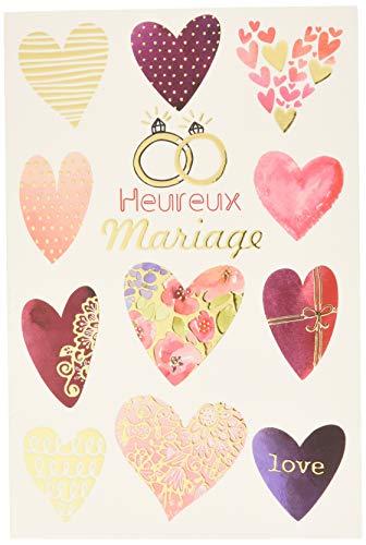 Wenskaart, bruiloft, felicitatie, met verguld, liefde harten, rozen, trouwringen, koppels, verlovingsring, gemaakt in Frankrijk