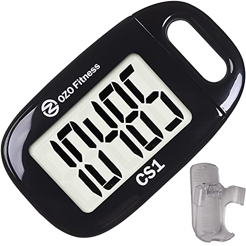 CS1 Easy Pedometer for Walking | Clip on Step Counter | Large Display & Lanyard (Black)
