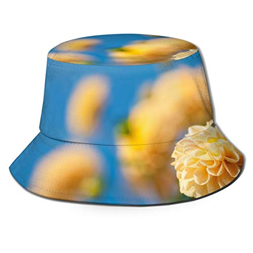 JOJOshop Unisex gekleurde Dahlia's tegen blauwe lucht emmer hoed visser hoed outdoor zon hoed