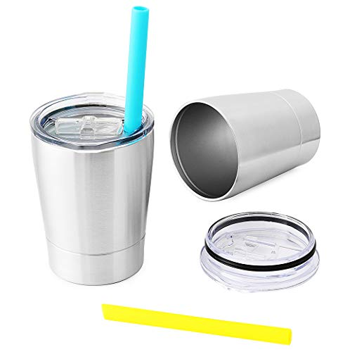 Colorful PoPo Small Cute Kids Cups 2 Pack, Stainless Steel Kid Tumbler with Lid and Straw, Double Wall Vacuum Insulated Toddler Sippy Cups, Children Smoothie Drinking Cup - Silver