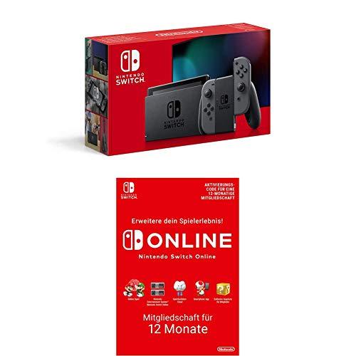 Nintendo Switch Konsole - Grau (2019 Edition) + Nintendo Switch Online Mitgliedschaft 12 Monate (Download Code)