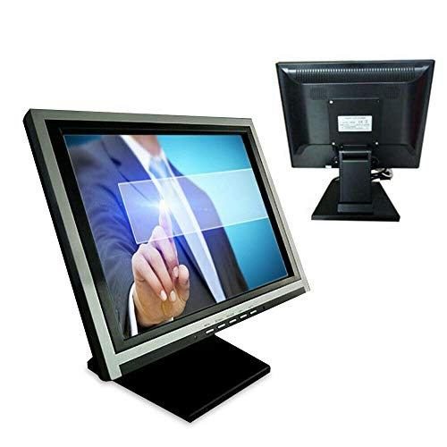 """15"""" Touch Screen LED Display Monitor, Touch Screen Cash Register VOD System POS Stand Restaurant VGA LED Touch Screen Monitor HD for Restaurant Cafe Kiosk Retail Silver"""