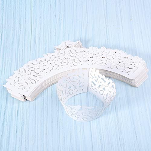 ROSENICE Cupcake Wrappers 50 Stück Muffinförmchen Hochzeit Muffins Backförmchen für Weihnachten Hochzeit Geburtstag(Weiß Vogel)