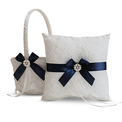 Alex Emotions Ivory Ring Bearer Pillow and Basket Set   Lace Collection   Flower Girl & Welcome Basket for Guest   Handmade Wedding Baskets & Pillows (Navy Blue)