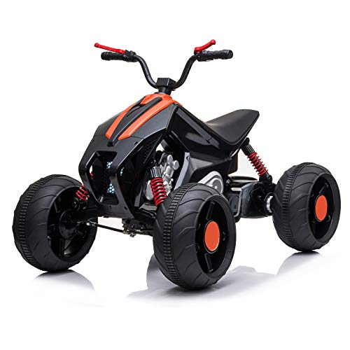 BAHOM Kids 12V 10AH Electric Ride On ATV Car Toy with 5 mph Max Speed, 7-Shaped LED Headlights, Threaded Wheels, Spring Suspension, Easy Button, Music, Built-in USB (Black)