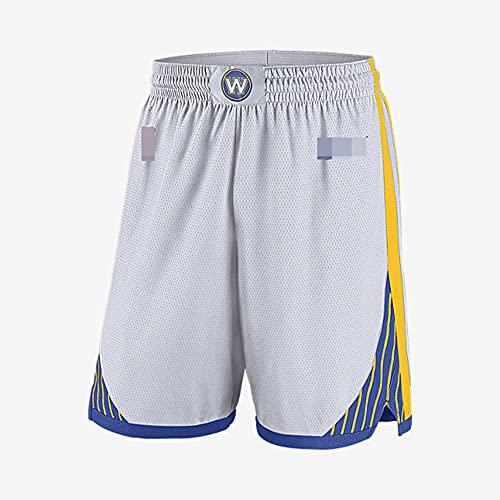 YZQ Pantalones Cortos De Baloncesto para Hombres, White NBA Golden State Warriors Summer City Edition Deporte Shorts Suelto Baloncesto Entrenamiento Deporte Jersey Shorts,Blanco,L(180CM)