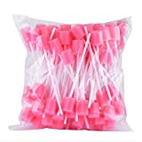 Disposable Oral Care Sponge Swab Tooth Cleaning Mouth Swabs 100pcs Dental Use Unflavored Pink Swabs for Mouth & Gum Cleansing Care