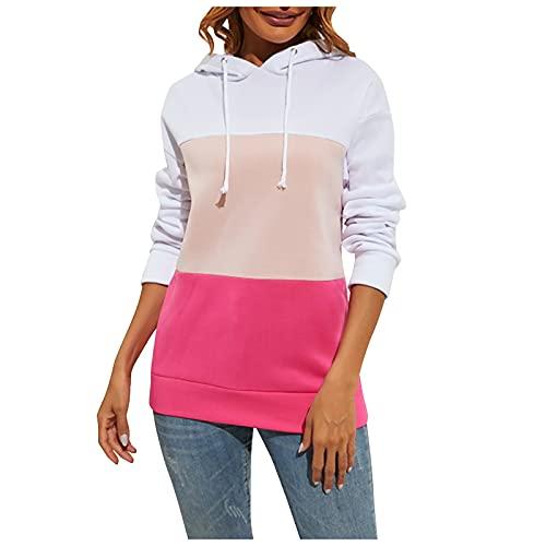 XIAOFUPO Damen Hoodies Langarmshirt mit Nähten Casual Langarm Sweatshirt Winter Casual Oberteil Rundhalsausschnitt Slim Fit Sweater Farbblock Baumwoll Kapuzenpullover