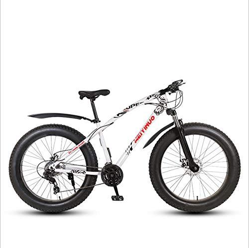 DGAGD 26 inch Off-Road Beach Snowmobile Super Wide 4.0 Big tire Mountain Bike Spoke Wheel-White_21 Speed
