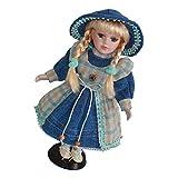 Fenteer Kleine Viktorianische Mädchen Puppen Porzellanpuppe Keramik Mädchen Puppe im Kleid & Hut -...