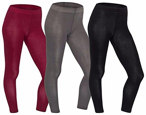 Strümpfe für alle, 1x Damen-Leggings, blickdicht, antibakteriell, keine Geruchsbildung, breiter Bund mit Zwickel, Schwarz L