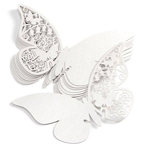 Tarjeta de Lugar de Mariposa,100 Piezas Tarjeta de Copa Mariposa Lugar Forma Mariposa Decoración para Vasos Copa Bodas Fiestas Cumpleaños Tarjetas