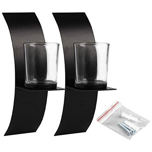 2 portavelas con 2 vasos de cristal y tornillos – Soporte de pared curvo negro de hierro forjado – Soporte de vela moderno de hierro para pared, candelabro de pared fácil de instalar spa