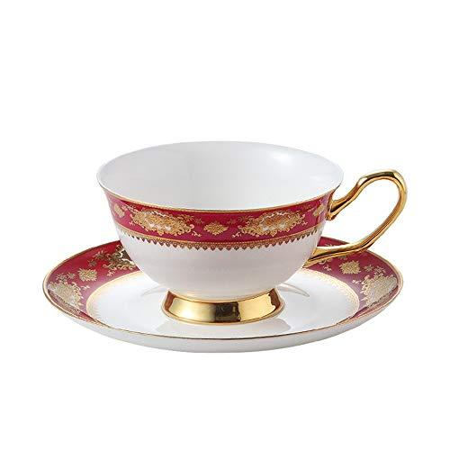 HXiaDyG KafTee Tasse und Untertasse Set Chinese Journal of Keramik Kaffeetasse Mit Untertasse Osteoporose 2 Sätze Von Kaffee Und Tee-Pakete Tasse Untertassen-Sets (Color : Red, Size : One Size)