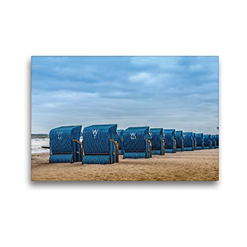 Premium Textil-Leinwand 45 x 30 cm Quer-Format Strandkörbe in Kühlungsborn/Ostsee | Wandbild, HD-Bild auf Keilrahmen, Fertigbild auf hochwertigem Vlies, Leinwanddruck von Dieter Gödecke