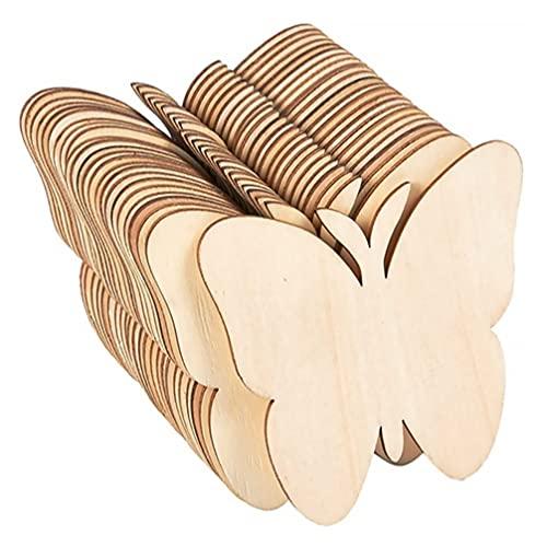 GARNECK 40 Piezas con Forma de Mariposas Recortes de Madera Pintura sin Terminar Rodajas de Madera Artesanías en Blanco Piezas de Madera Manualidades DIY Proyecto de Decoración del Hogar