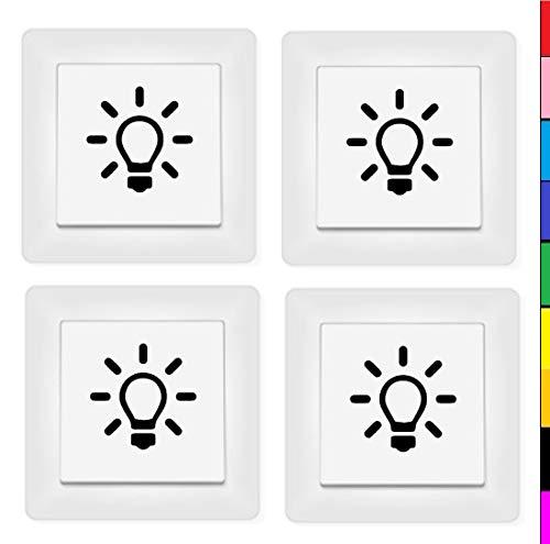 generisch Licht Schalter Beschriftung Set 4 Stück Lichtschalter Schalter Aufkleber (131/1/2/1) (dunkelgrau matt)