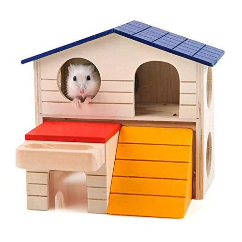 LAMEIDA Lameiida Hamsterhaus mit Treppe aus Holz 2 Etagen Hamster Villa Käfig Hamster Spielzeug Fun Mini Haus für Rennmäuse Kleintiere 17 x 9 x 16 cm