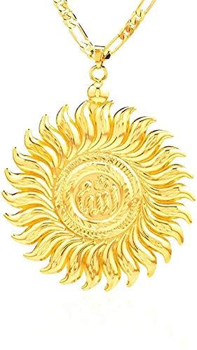 Nuevo collar grande de Allah, colgante deslizante, Color dorado, joyería islámica de Allah, mujeres, hombres, joyería musulmana árabe, longitud 45Cm