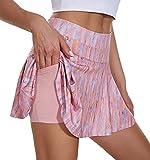 VUTRU Faldas de Tenis Cintura Alta Faldas Pantalón Skorts de Golf para Mujer Mini Faldas Deportiva Plisadas para Correr Gimnasio Fitness con Pantalones Cortos Interior Rosa M