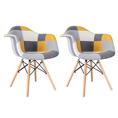 MIFI 2X Stuhl Esszimmerstuhl Patchwork Design Klassiker Patchwork Sessel Retro Barstuhl Wohnzimmer Küchen Stuhl Esszimmer Sitz Holz Leinen (Gelb)