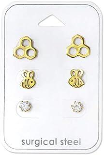 Stainless Steel (SET OF 3) Gold Tone Honeybee w/ Crystal CZ Stud Earrings 30729
