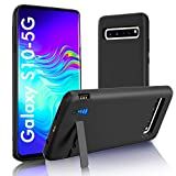 [Upgraded] SlaBao Galaxy S10 5G Battery Case, Kickstand & Dual Device Charging & Priority Charging Case, 6500mAh Portable Backup Charger Case for Samsung S10 5G (6.7') Black