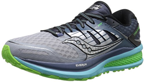 Saucony Women's Triumph ISO 2 Running Shoe, Grey/Blue/Slime, 7.5 M US
