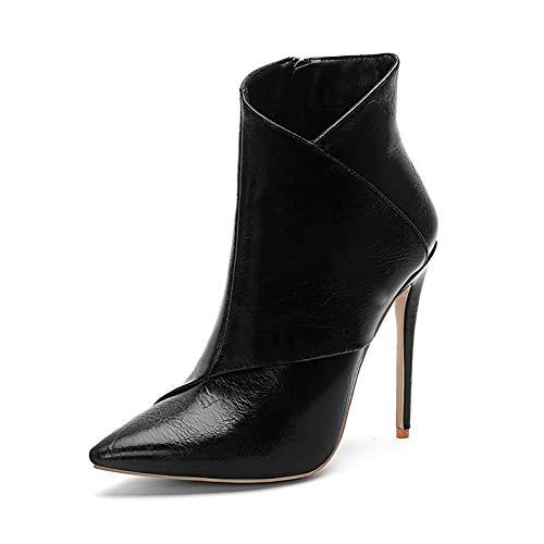 Dames hoge hak laarzen, puntige Stiletto enkellaarzen Comfortabele dames 8 cm hak, om te winkelen, foto's te maken en cadeau te geven 37