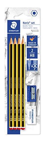 Staedtler Noris 120S1 BK4DST. Lápices de madera certificada. Blíster con 4 lapiceros, una goma de borrar y un sacapuntas.