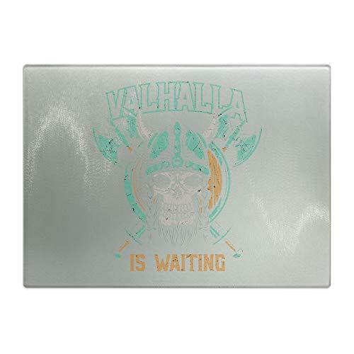 Valhalla wartet   Tabla de cortar de cristal, tabla de desayuno, para imprimir, antideslizante y resistente a los arañazos