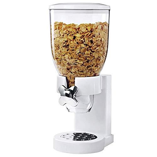 BAKAJI Dispenser Storage Dosatore Distributore Erogatore Cereali Pasta Caramelle Dolci Frutta Secca Singolo con Rotella Contenitore 500gr e Dosatore Interno (Bianco)