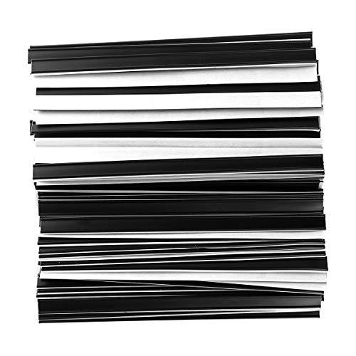 FEESHOW 100pcs Peel and Stick Tin Ties, Self-Adhesive Plastic Twist Ties for Coffee Bags Bread Bags Food Bag Black One Size