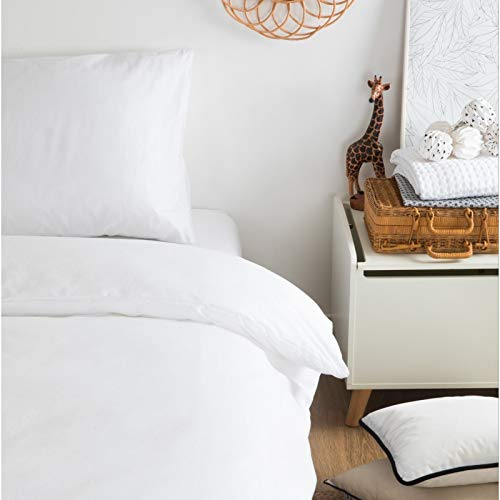 Alfred & Cie – Juego de cama de algodón orgánico blanco – 140 x 200 cm + 60 x 60 cm