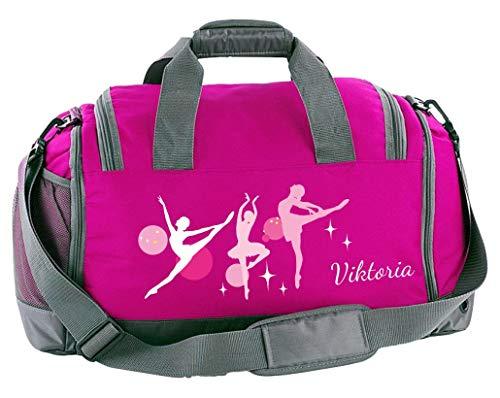Mein Zwergenland Multi Sporttasche Kinder mit Schuhfach und Feuchtfach Sporttasche mit Namen Ballerina als Aufdruck Farbe Pink 41 L Stauraum die perfekte Sporttasche für Kinder